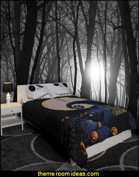 the nightmare before christmas bedding sppoky trees wall mural - Nightmare Before Christmas Bedroom Decor