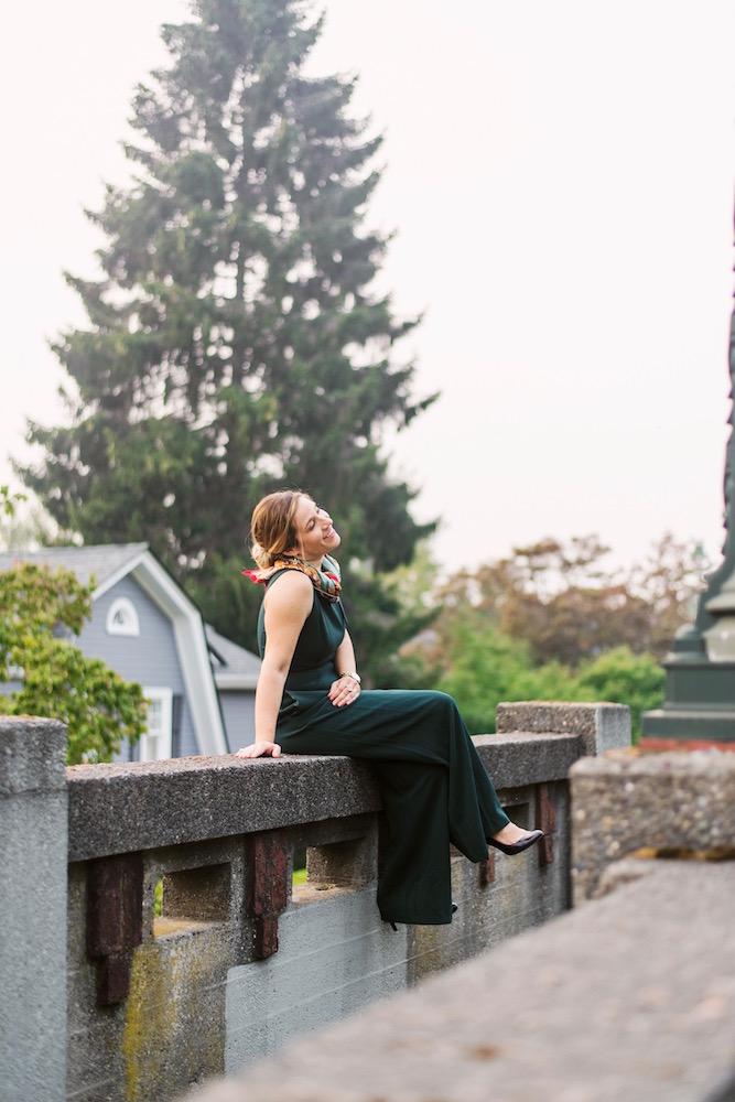 Julia Jordan Shoulder Bow Jumpsuit Pine on wall