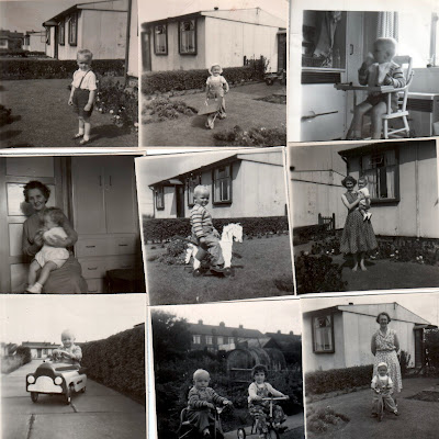 A picture montage showing Brigg prefabs circa 1957/8