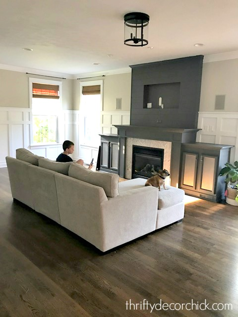Gray fireplace with built ins