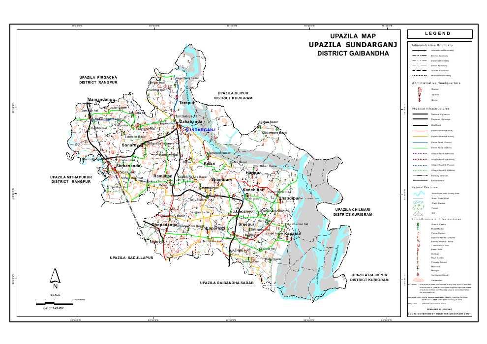 Sundarganj Upazila Map Gaibandha  District Bangladesh