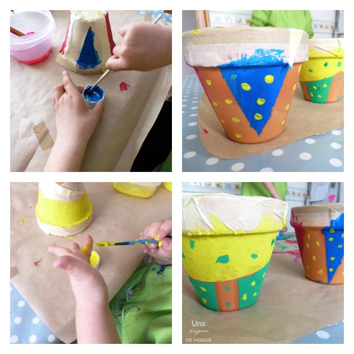 proceso de pintar macetas de barro con niños