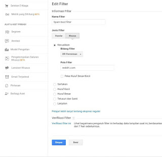 Membuat filter spam referral di google analytics