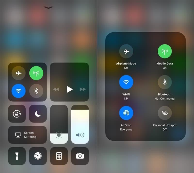 Customizable Control Center iPhone iOS 11