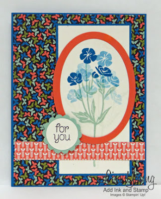 Stampin' Up! Wild About Flowers stamp set in oval frame. Handmade card by Lisa Young