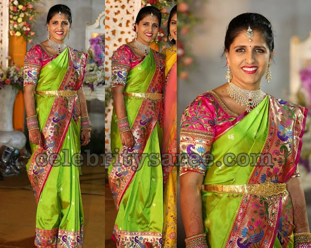 Parrot Green Pythani Silk Saree