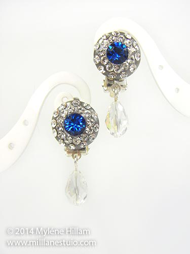 Sapphire and Clear Swarovski crystal pavé-style earrings. Perfect bridal or special occasion jewellery