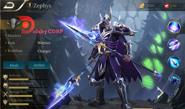 Arena of Valor : Hero Zephys ( Messenger of Elysium ) High Damage Builds Set up Gear