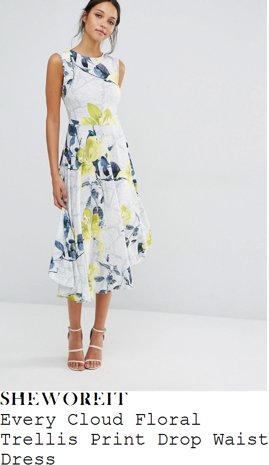 charlotte-hawkins-every-cloud-white-pale-grey-yellow-green-and-black-oversized-floral-branch-print-sleeveless-pleated-midi-dress