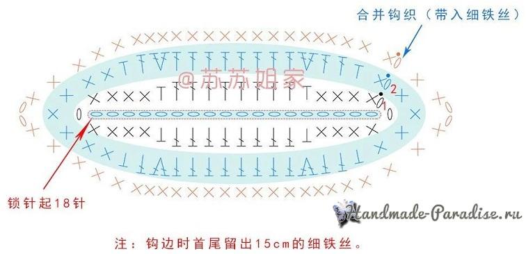 Схема вязания бутона лотоса