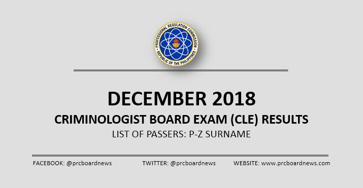 P-Z Passers: December 2018 Criminologist board exam result