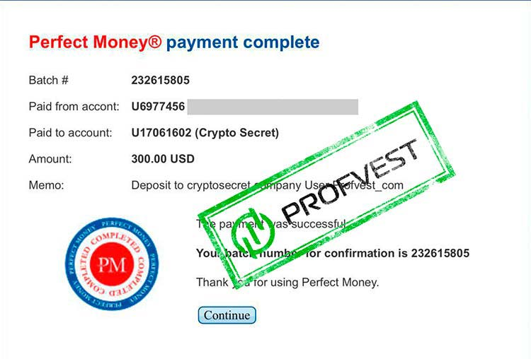 Депозит в CryptoSecret