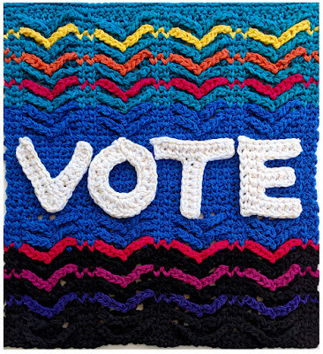 Crochet the Vote poster design ©2018 by Vashti Braha, all rights reserved.