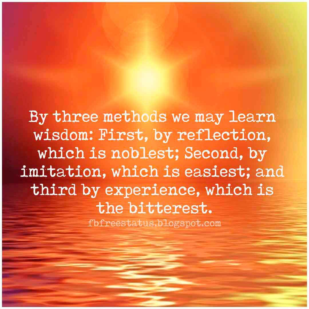 By three methods we may learn wisdom: First, by reflection, which is noblest; Second, by imitation, which is easiest; and third by experience, which is the bitterest, Quotes About Positive Attitude.