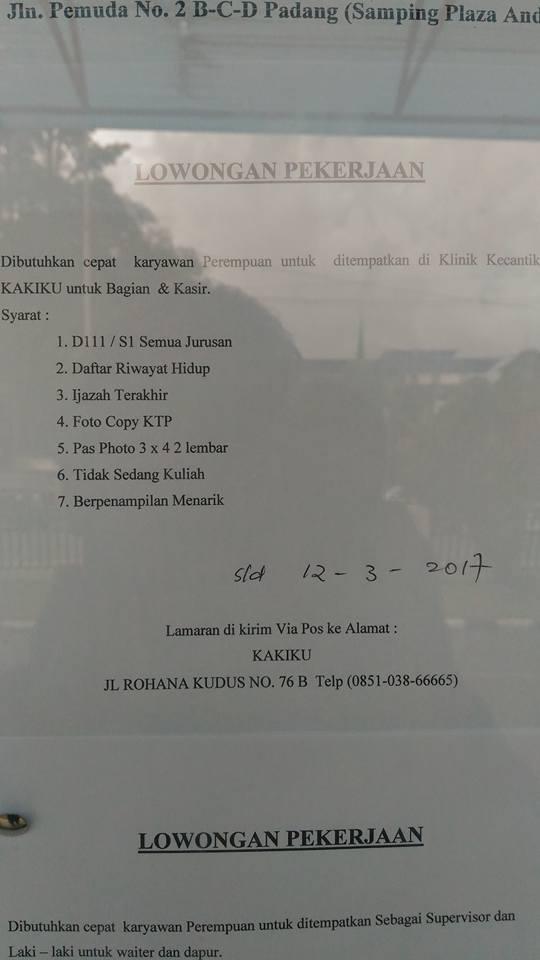 Lowongan Kerja di Padang – KAKIKU (Maret 2017)