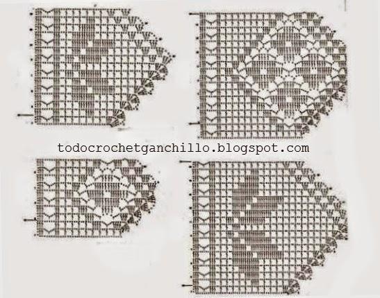 4 patrones de puntillas crochet filet todo crochet - Cenefas de crochet ...