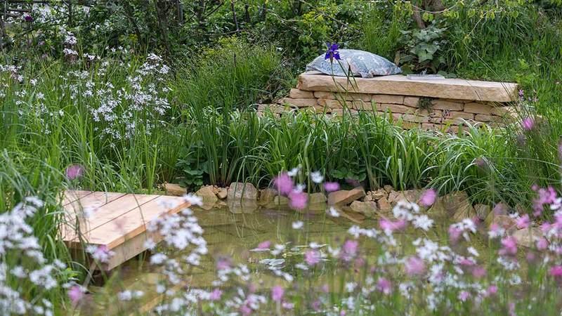 estanque de rocío en el jardín de Malvern Spring Festival