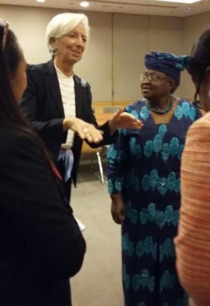 IMF boss, Christine Lagarde pictured with Okonjo-Iweala at IMF International Women's Day celebration
