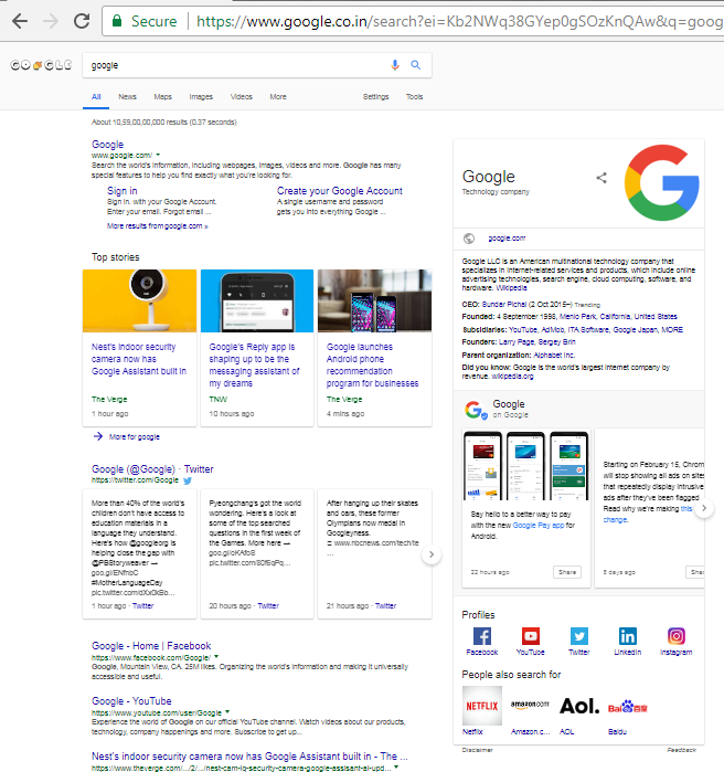Structured Data Markup Result showing complete Knowledge Graph for a Corporation-By Omkara Marketing Services, A SEO Company, Semantic SEO, Digital Marketing Company
