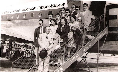 Aeropuerto de Barcelona en 1951, expedición lisboeta