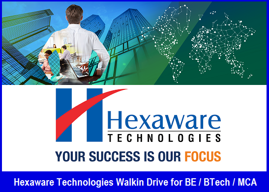 Hexaware Technologies Walkin Drive For Be Btech Mca On