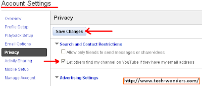 YouTube Account Privacy Setting - Search and Contact Restrictions