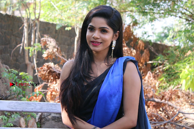 Actress Divya Bharthi Stills IN Blue Saree at Mupparimanam Press Meet Stills  0005.jpg