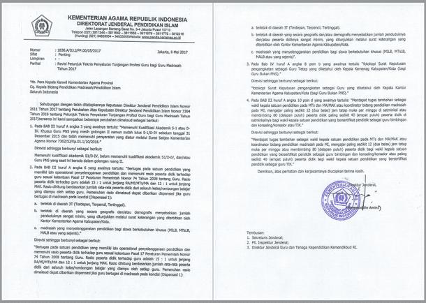 Revisi Juknis Penyaluran TPG Bagi Guru Madrasah (Kemenag) Tahun 2017