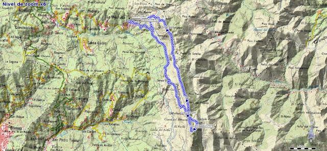 Mapa de la ruta de la Sierra de Peña Mayor