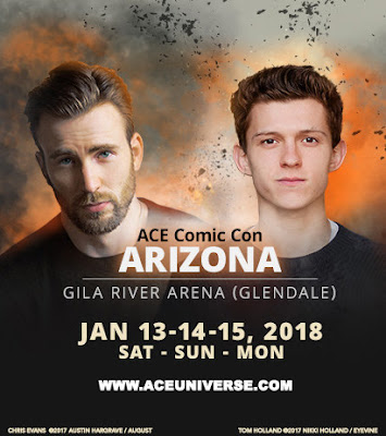 ACE Comic Con Arizona poster featuring Chris Evans and Tom Holland