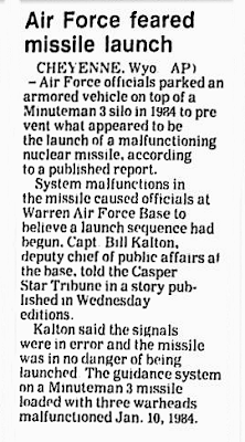 Air Force Feared Missile Launch - Gadsden Times 10-28-1987