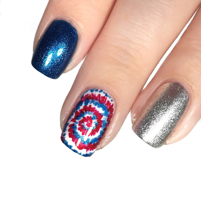 Fourth of July Tie Dye Nail Art