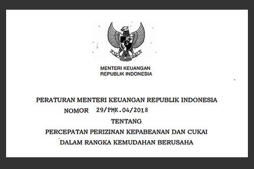 Peraturan Menteri Keuangan Nomor 29/PMK.04/2018