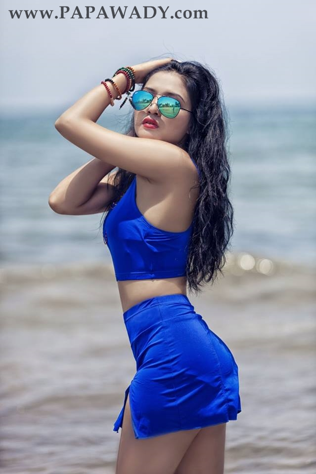 Myanmar Model Marina - Blue Queen At The Beach