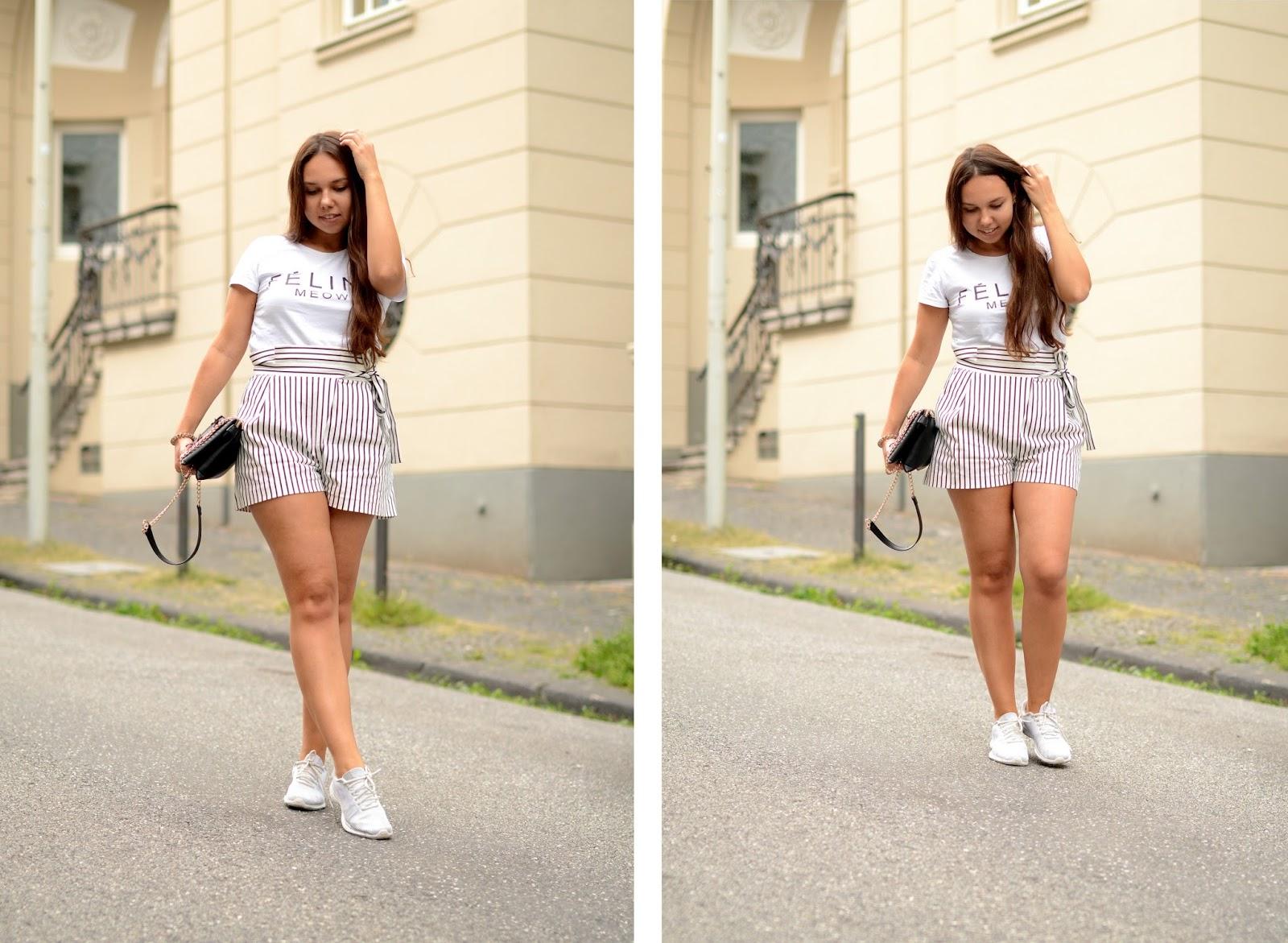 gestreifte high waist shorts zara outfit