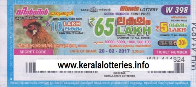 Kerala lottery result of Winwin-W-397