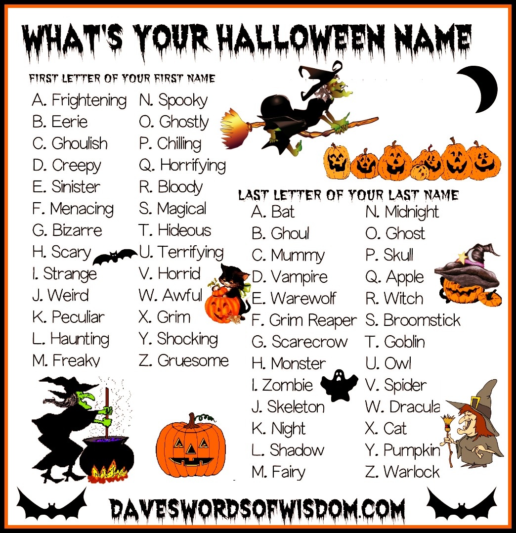 Daveswordsofwisdom What Is Your Halloween Name