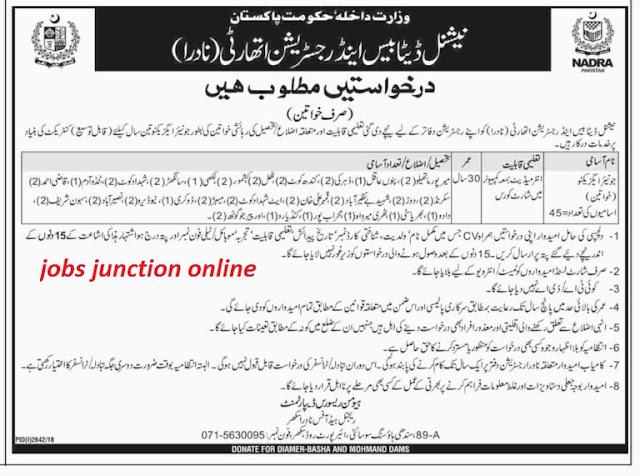 NADRA Jobs 2018-19 in Sindh