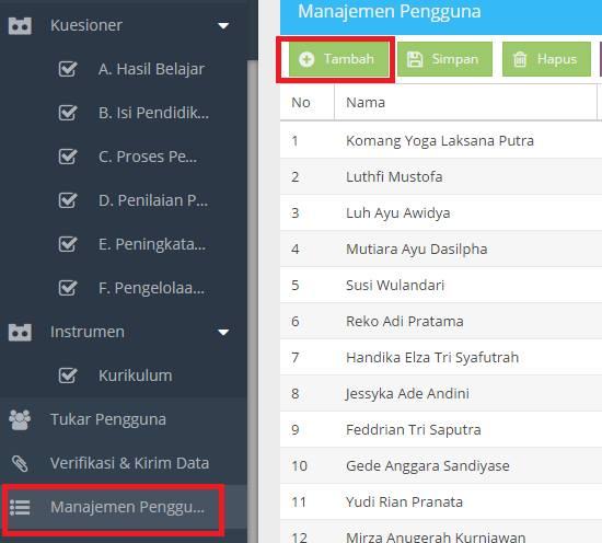 gambar cara tambah pengguna pengawas dan komite di aplikasi pmp