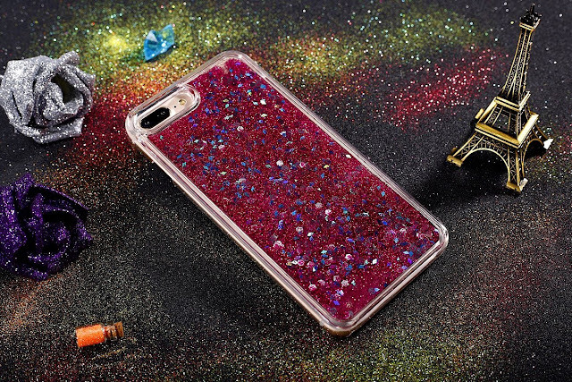 JAZ Super protection camera TPU Hard Transparent Liquid Case, Perfect Liquid Quicksand Moving Stars Bling Glitter Floating Luxury Bling Glitter Sparkle Case for iPhone 8