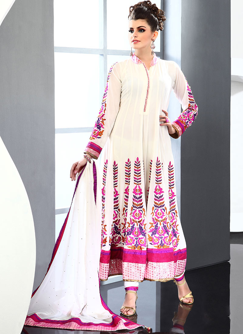 Cream Viscose Anarkali Suit