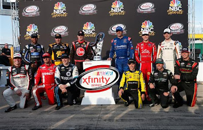 (Back Row L) Darrell Wallace Jr, driver of the #6 TMNT Shredder Ford pose with the NASCAR XFINITY Series trophy after the NASCAR XFINITY Series Drive for Safety 300 at Chicagoland Speedway on September 17, 2016 in Joliet, Illinois.