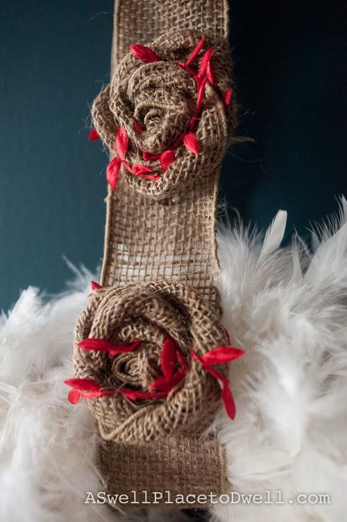 Feather and burlap wreath.  #christmas #burlap #wreathhop