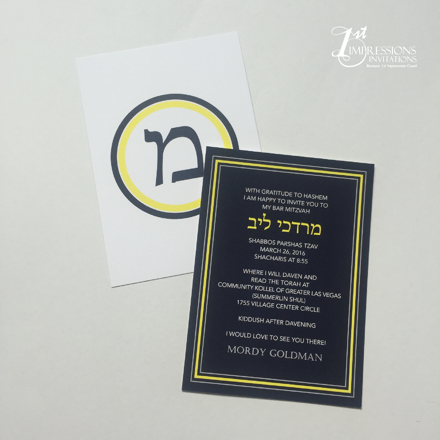 1st Impressions Invitations: Blue and Yellow Modern Bar Mitzvah Invitations by 1st Impressions ...