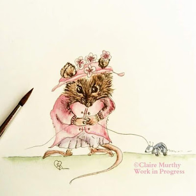 british mouse watercoloure, mouse in a dress