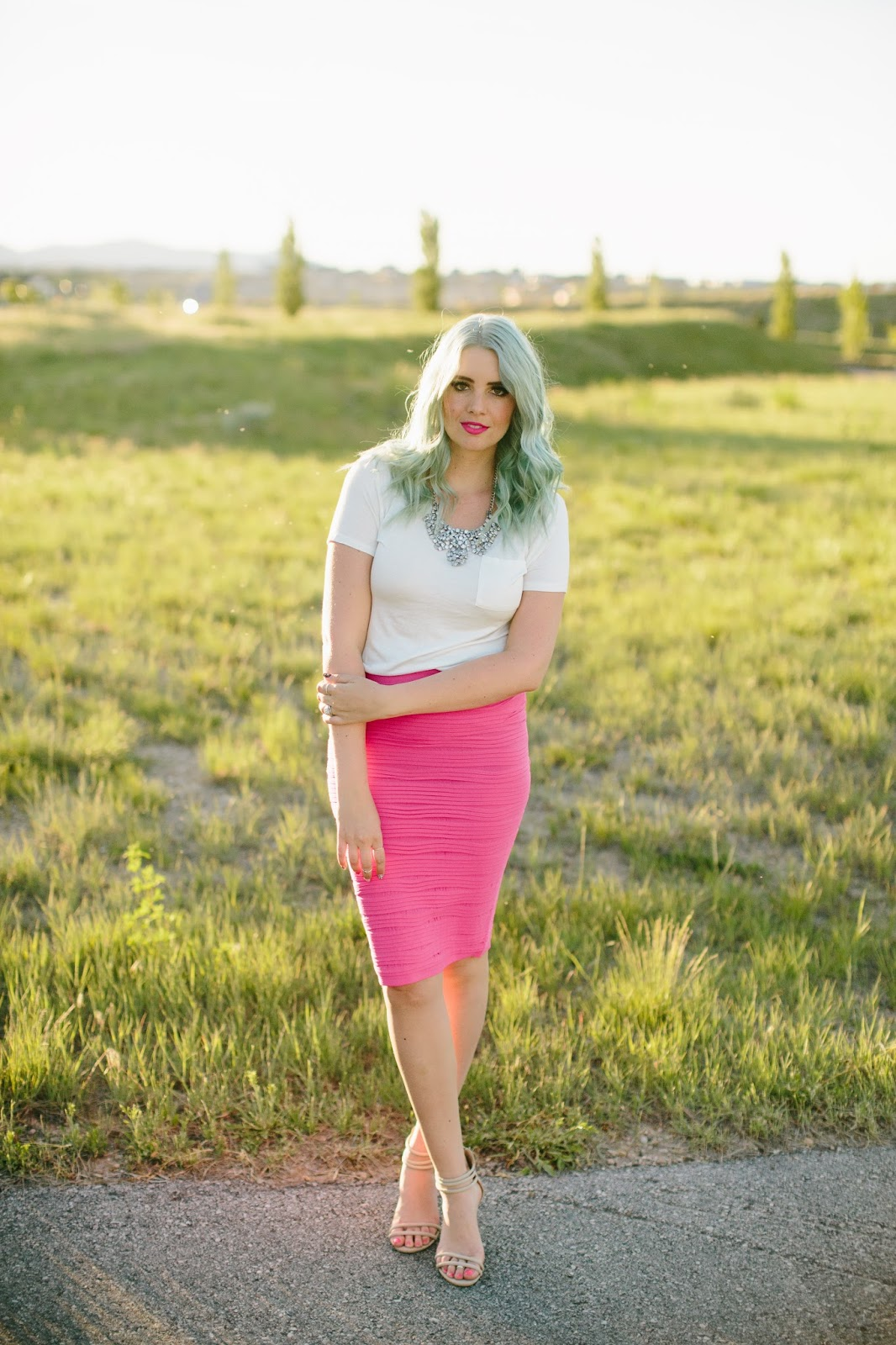 Mint Hair, Pink Skirt, Dressy Outfit