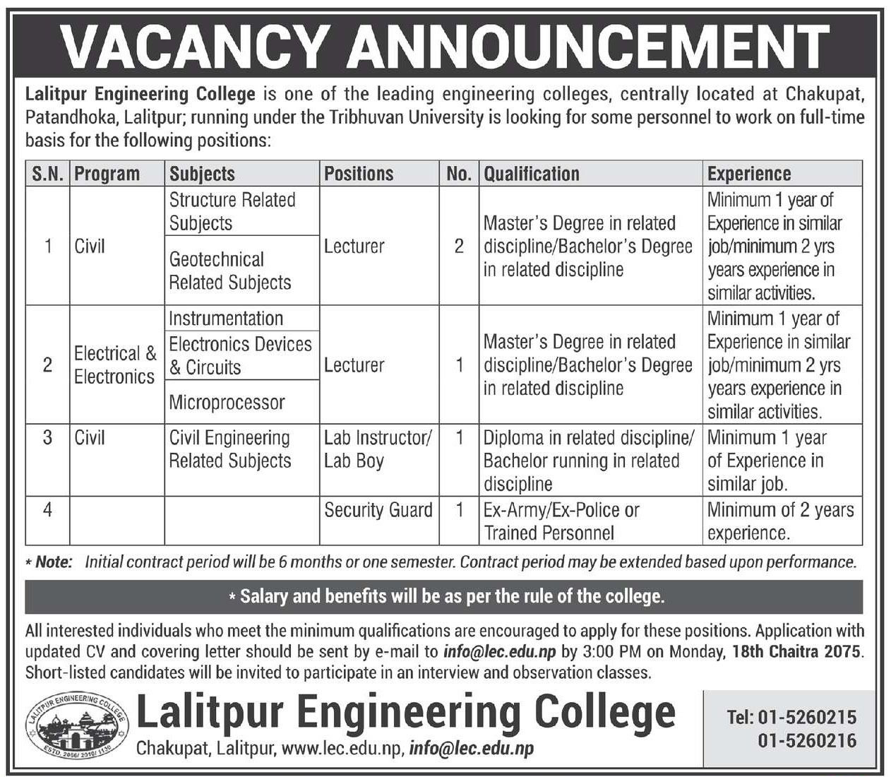 Job Vacancy at Lalitpur Engineering College
