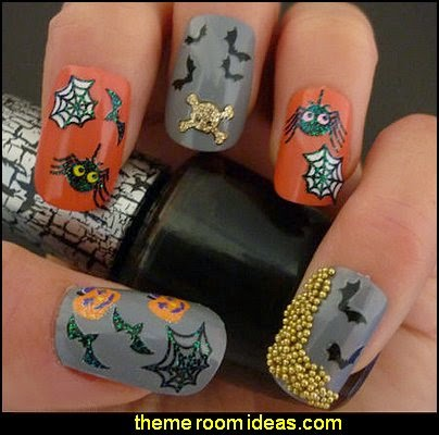Halloween Nail Art Stickers Decals Skull Bones Crossbones Bat Spiders Cats