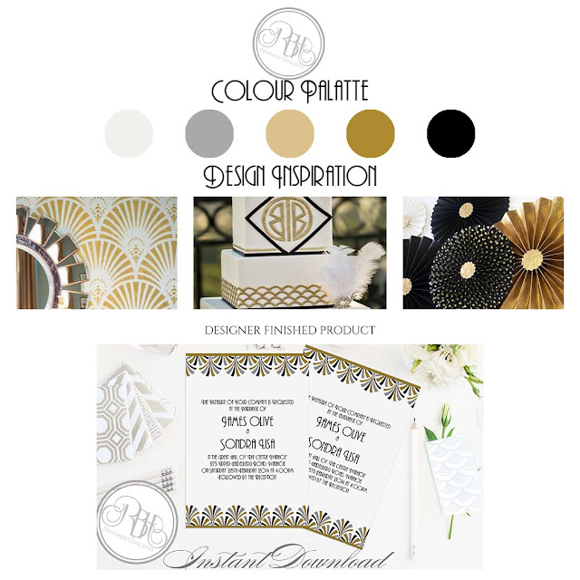 gold silver black white wedding style card inspiration art deco anneliese