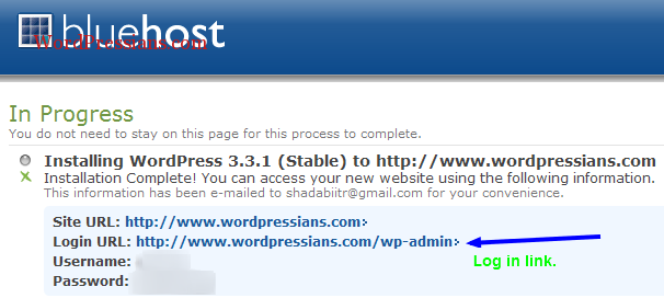 Login information of WordPress Blog